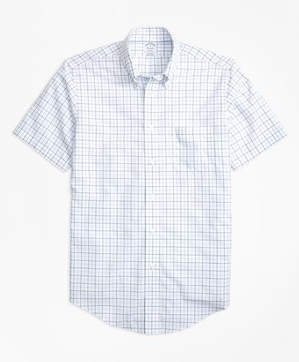 Non-Iron BrooksCool® Regent Fit Tonal Windowpane Short-Sleeve Sport Shirt