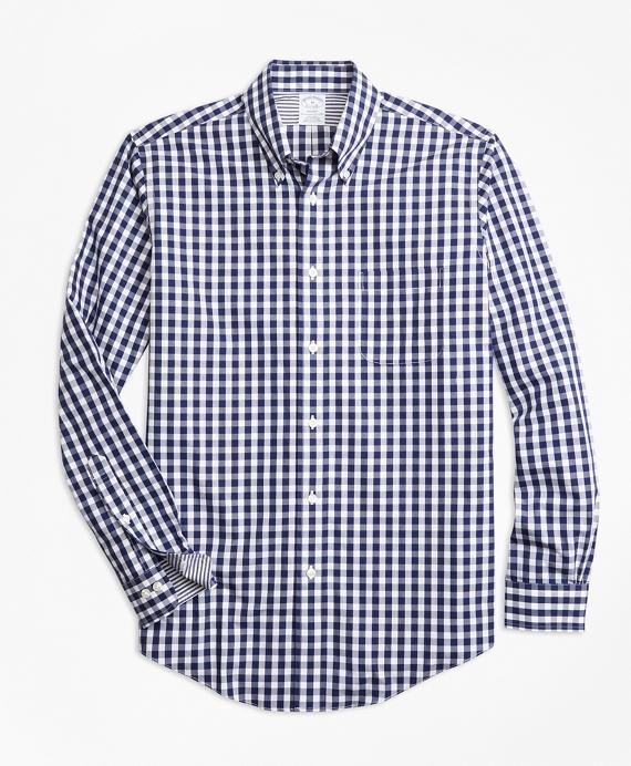 Non-Iron Regent Fit Gingham Sport Shirt Blue
