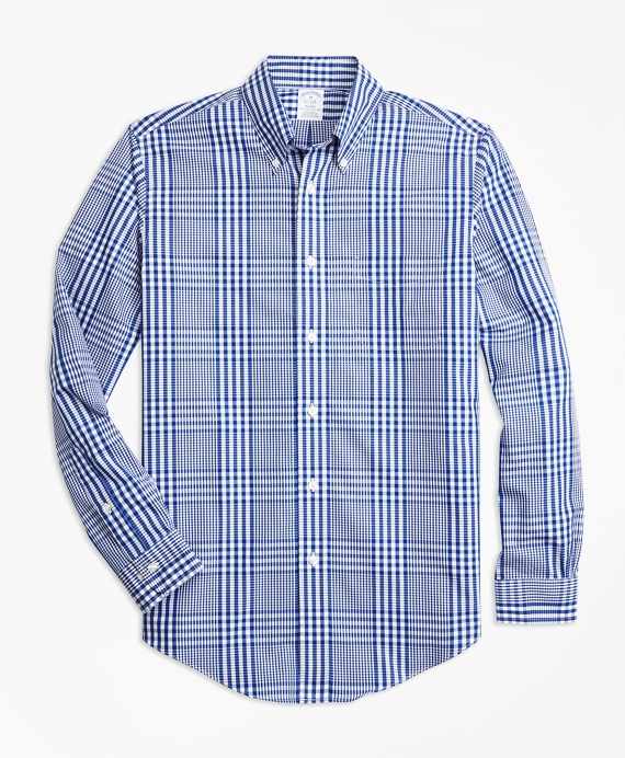 Non-Iron Regent Fit Plaid Sport Shirt Blue-White