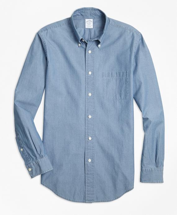 Regent Fit Indigo Chambray Sport Shirt Blue