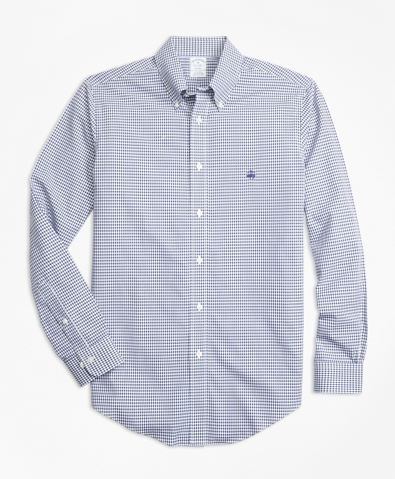 Non-Iron Regent Fit Dobby Check Sport Shirt Blue