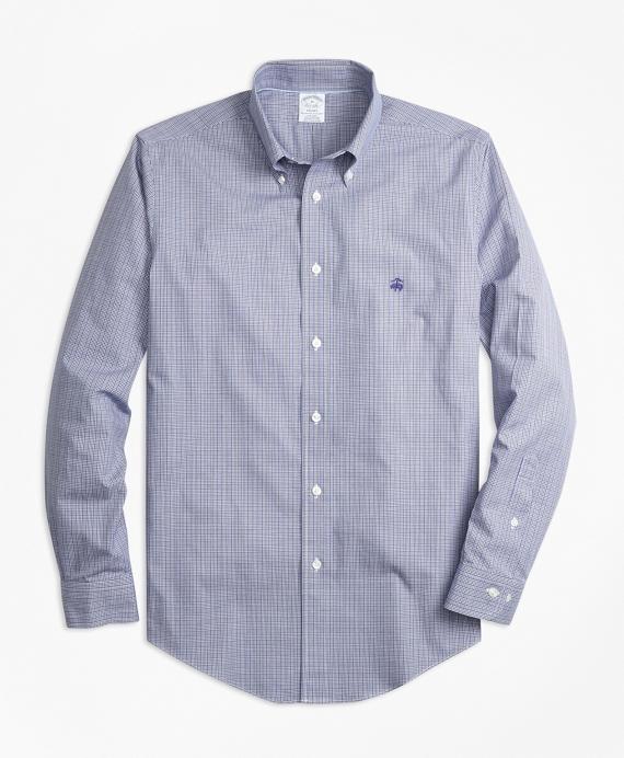 Non-Iron Regent Fit Mini-Plaid Sport Shirt Blue