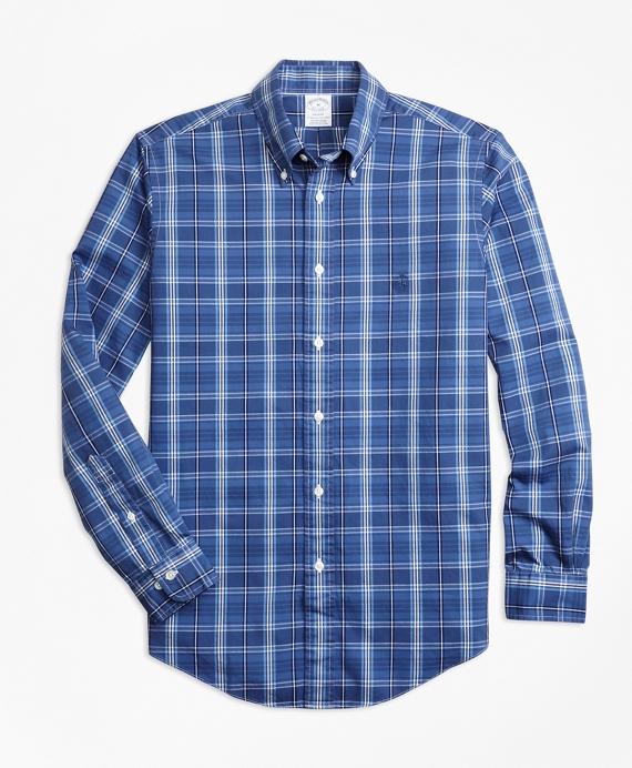 Non-Iron Regent Fit Blue Plaid Sport Shirt Blue
