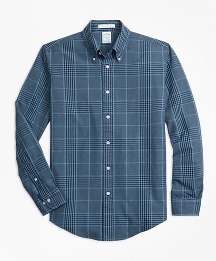 Regent Fit Indigo Glen Plaid Sport Shirt