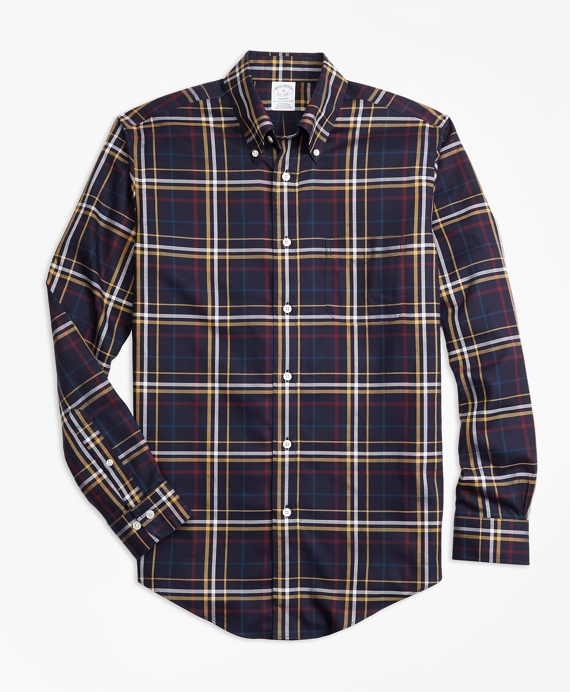 Non-Iron Regent Fit Navy and Gold Plaid Sport Shirt Navy-Gold