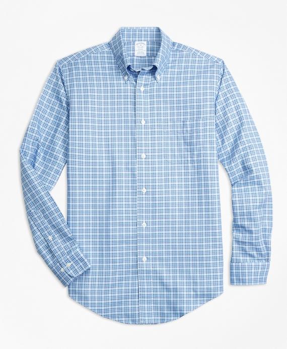 Non-Iron Regent Fit Tattersall Sport Shirt Blue