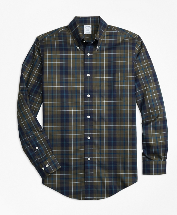 Non-Iron Regent Fit Olive Plaid Sport Shirt Olive