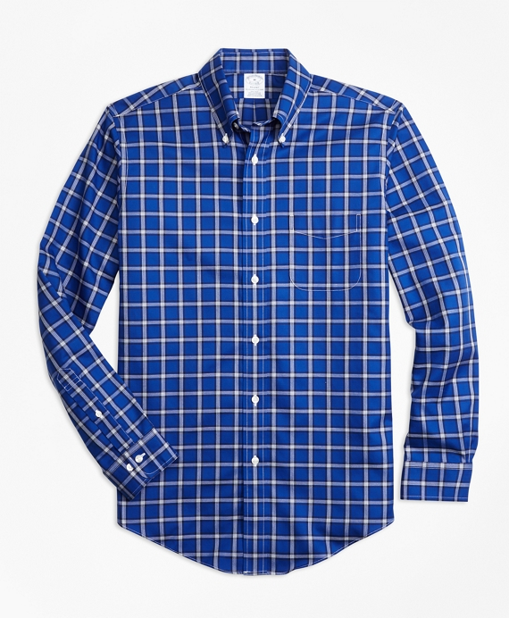Non-Iron Regent Fit Windowpane Sport Shirt Blue