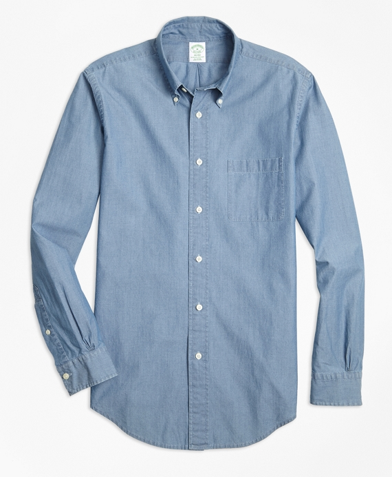 Milano Fit Indigo Chambray Sport Shirt by Brooks Brothers