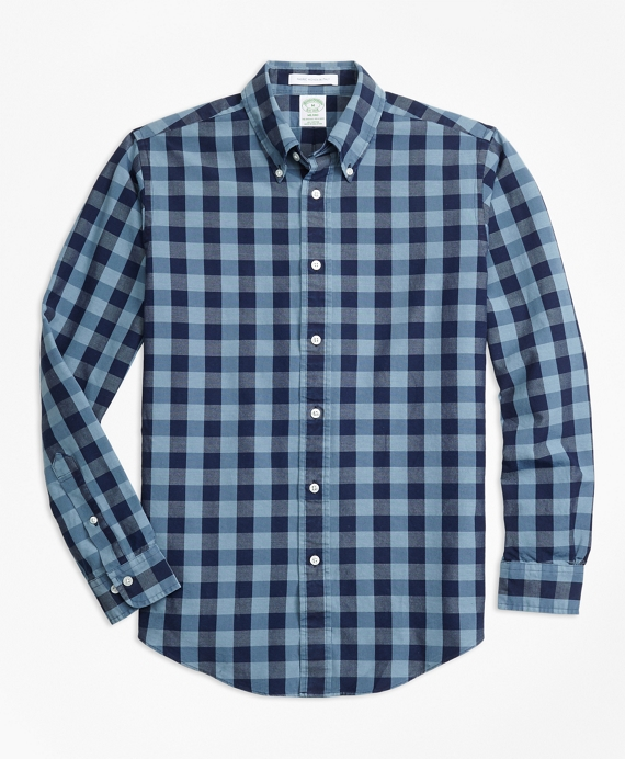 Milano Fit Indigo Gingham Sport Shirt by Brooks Brothers