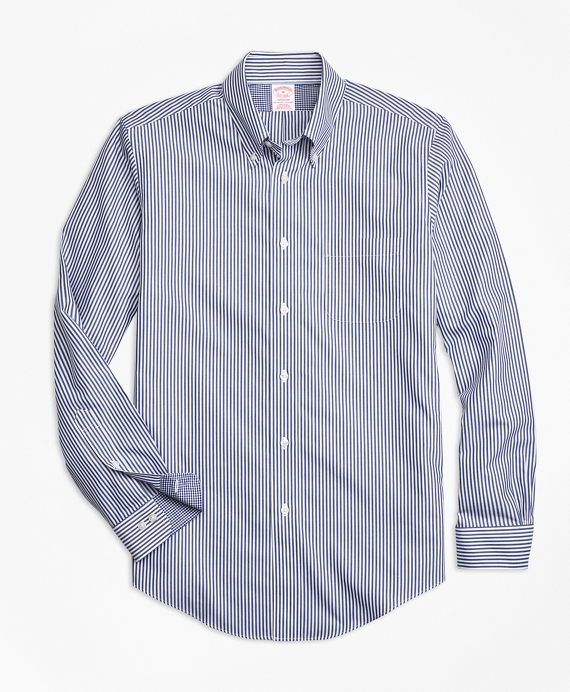 Non-Iron Madison Fit Bengal Stripe Sport Shirt Blue