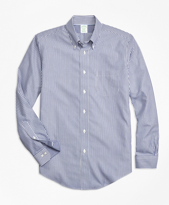 Non-Iron Milano Fit Bengal Stripe Sport Shirt Blue