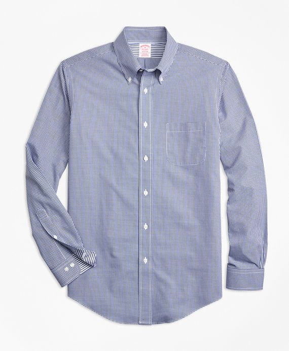 Non-Iron Madison Fit Micro-Gingham Sport Shirt Blue