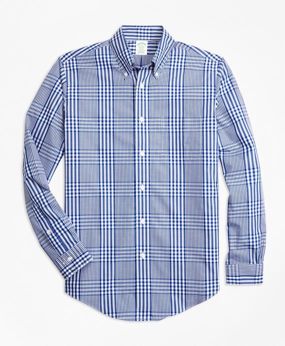 Non-Iron Milano Fit Plaid Sport Shirt Blue