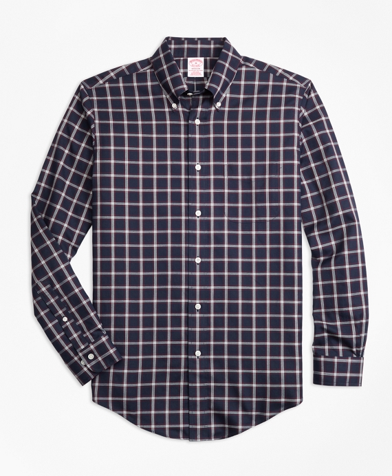 Madison Relaxed-Fit Sport Shirt, Non-Iron Windowpane Navy