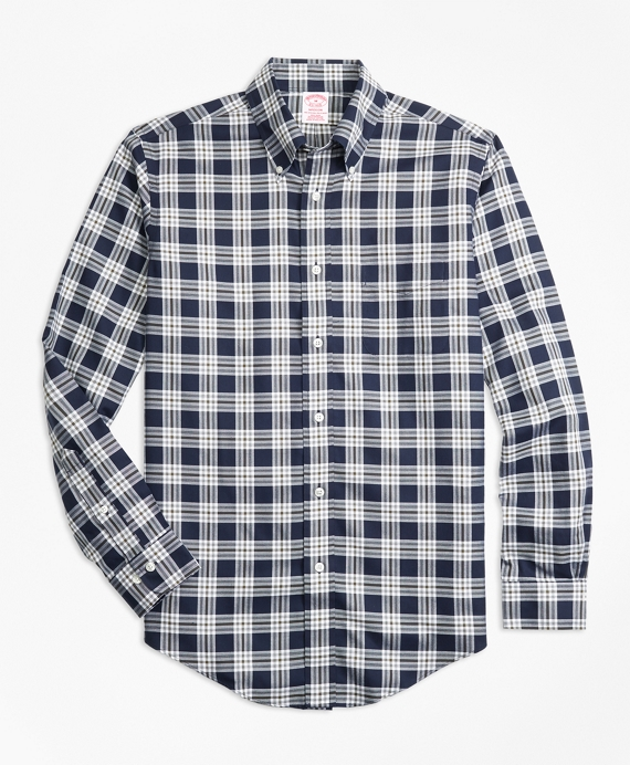 Non-Iron Madison Fit Navy Plaid Sport Shirt Navy