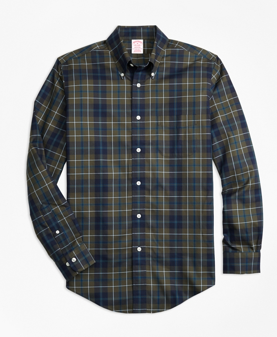 Non-Iron Madison Fit Olive Plaid Sport Shirt Olive