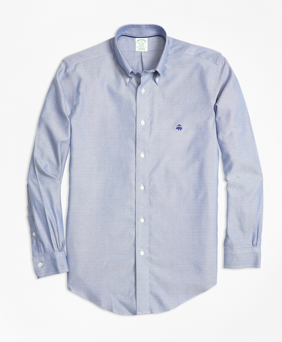 Non-Iron Milano Fit Dobby Sport Shirt Blue