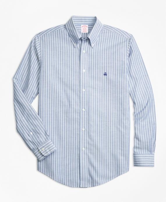 Non-Iron Madison Fit Ground Stripe Sport Shirt Blue
