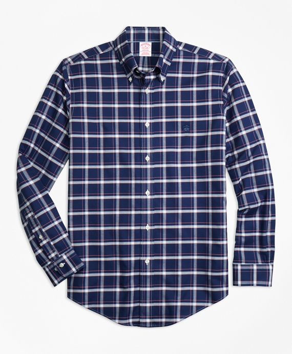 Non-Iron Madison Fit Check Sport Shirt Navy