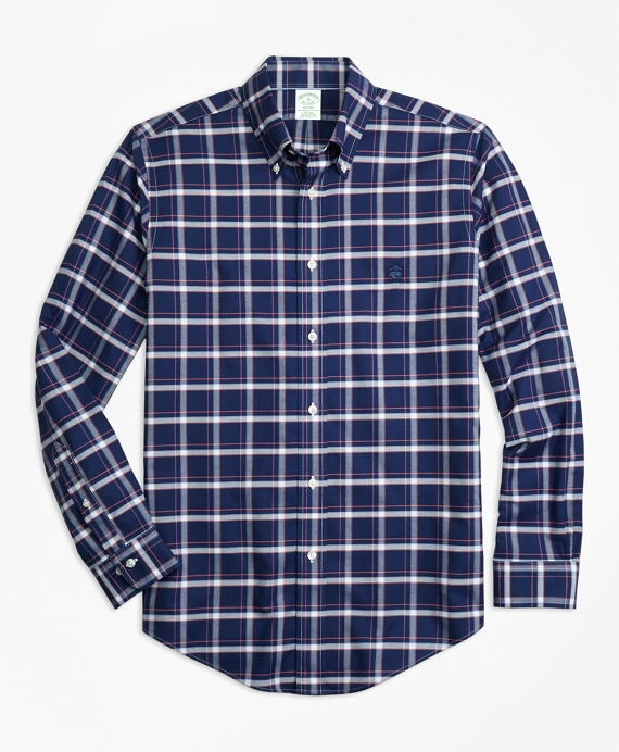 Non-Iron Milano Fit Check Sport Shirt Navy