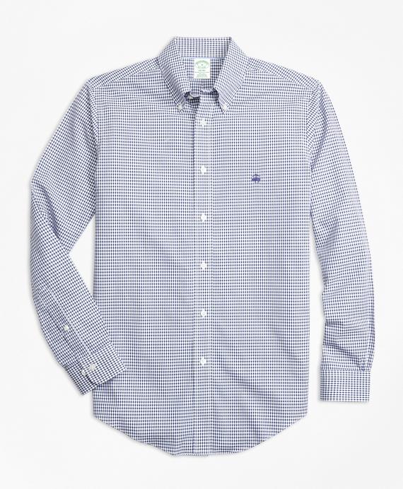 Non-Iron Milano Fit Dobby Check Sport Shirt Blue