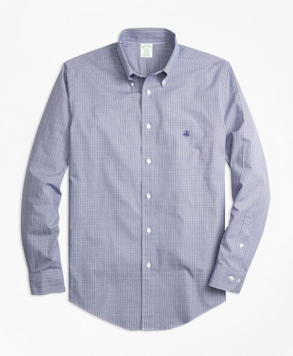 Non-Iron Milano Fit Mini Plaid Sport Shirt Blue