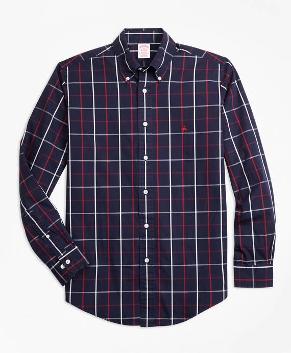 Non-Iron Madison Fit Double-Windowpane Sport Shirt Navy
