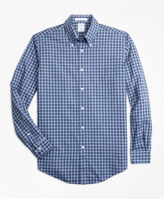 Regent Fit Small Check Sport Shirt Blue