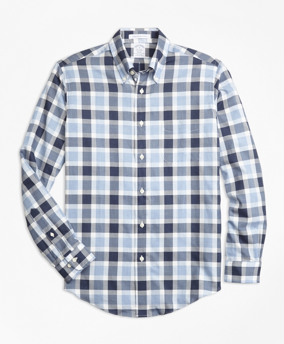 Regent Fit Herringbone Plaid Sport Shirt Blue