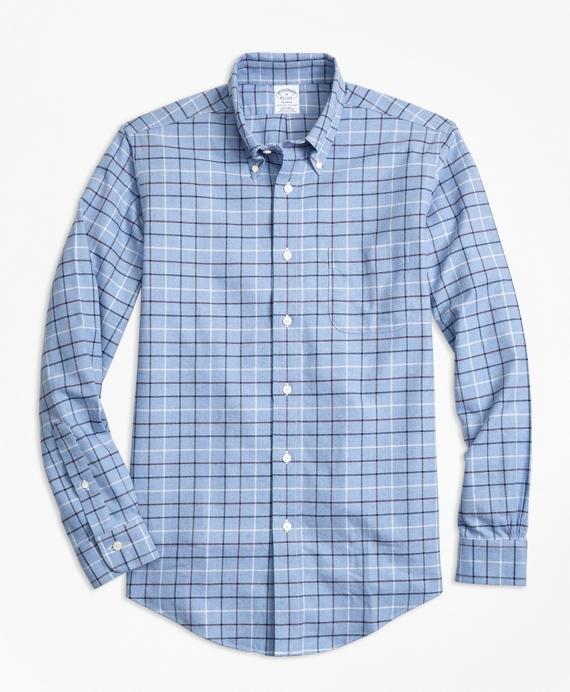 Non-Iron Regent Fit Tattersall Flannel Sport Shirt Blue