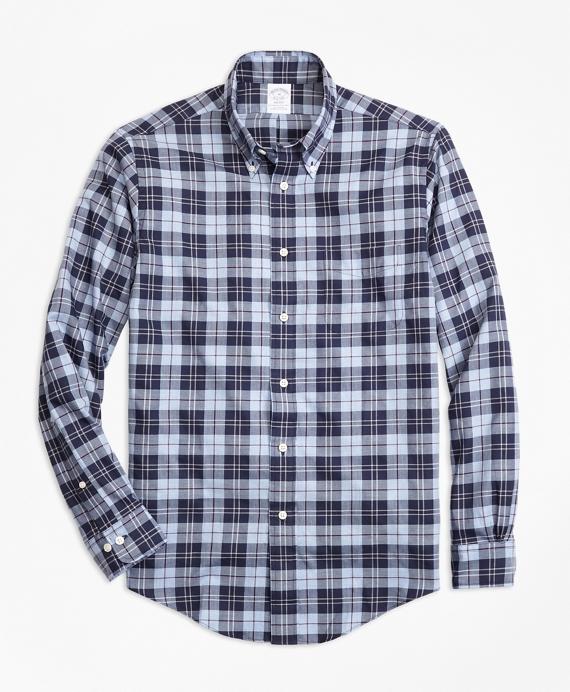 Regent Regular-Fit Sport Shirt, Plaid Flannel Blue