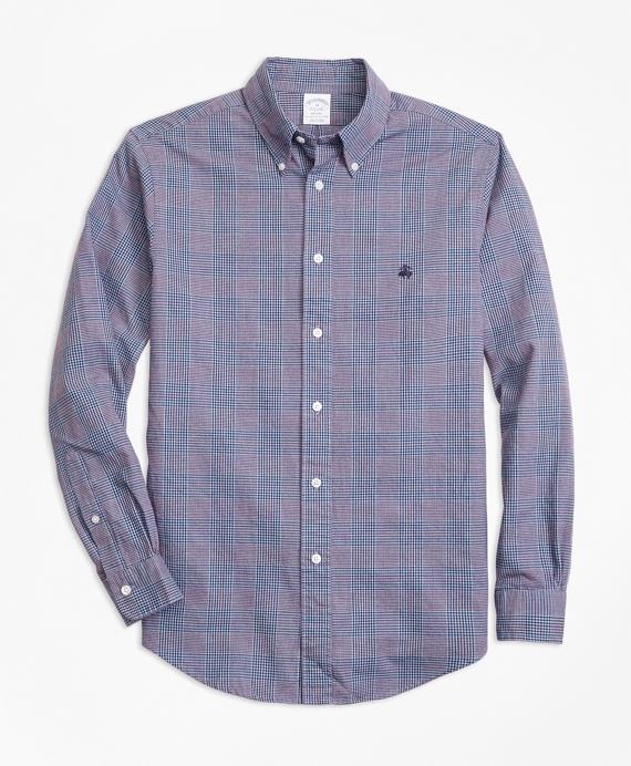 Regent Fit Brushed Oxford Glen Plaid Sport Shirt Blue