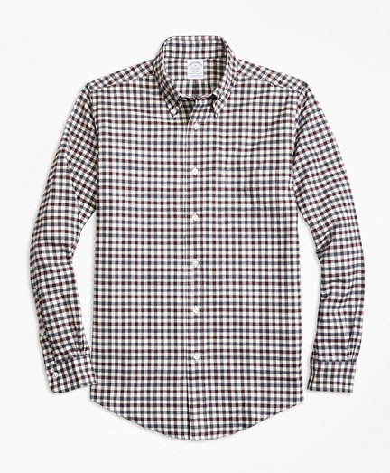 Regent Fit Luxury Two-Color Gingham Flannel Sport Shirt