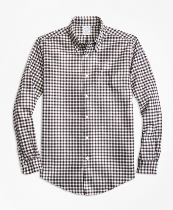 Regent Fit Luxury Two-Color Gingham Flannel Sport Shirt Burgundy-Grey