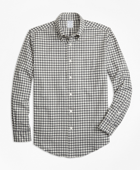 Regent Fit Luxury Gingham Flannel Sport Shirt Grey