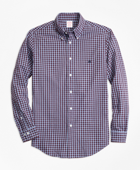 Madison Fit Brushed Oxford Gingham Sport Shirt Blue