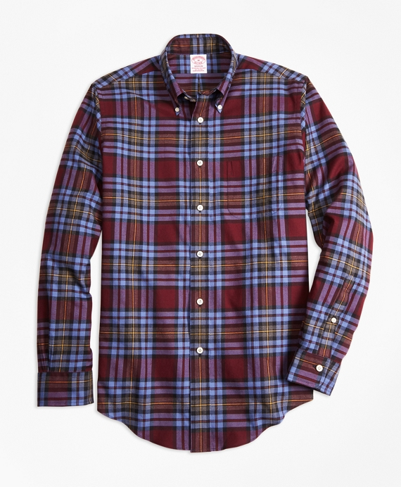 Madison Fit Burgundy Plaid Flannel Sport Shirt Burgundy