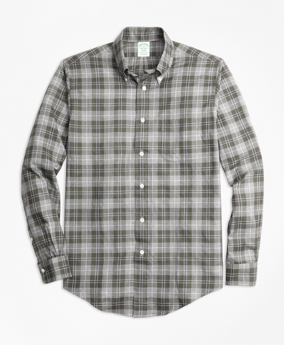 Milano Fit Plaid Flannel Sport Shirt Grey