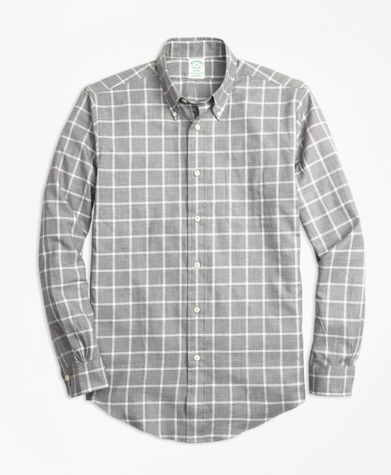 Milano Fit Small Windowpane Flannel Sport Shirt Grey
