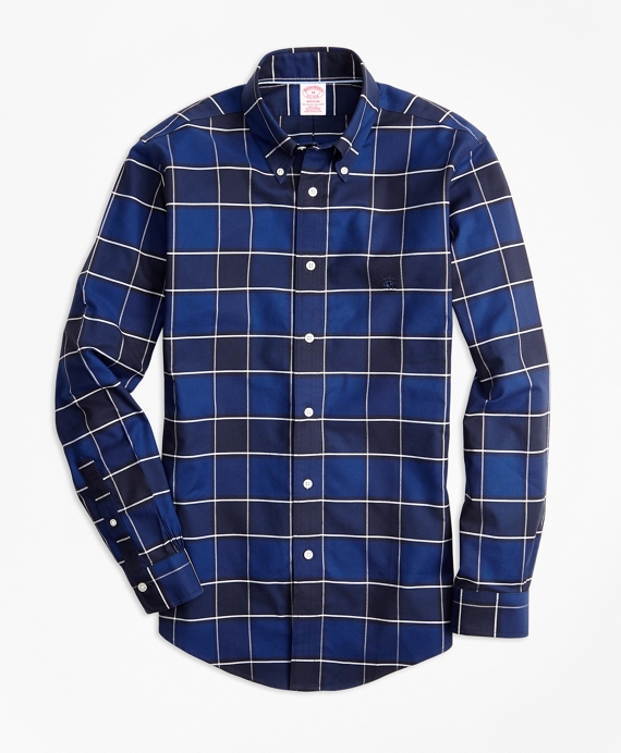 Non-Iron Madison Fit Graph Check Sport Shirt Blue