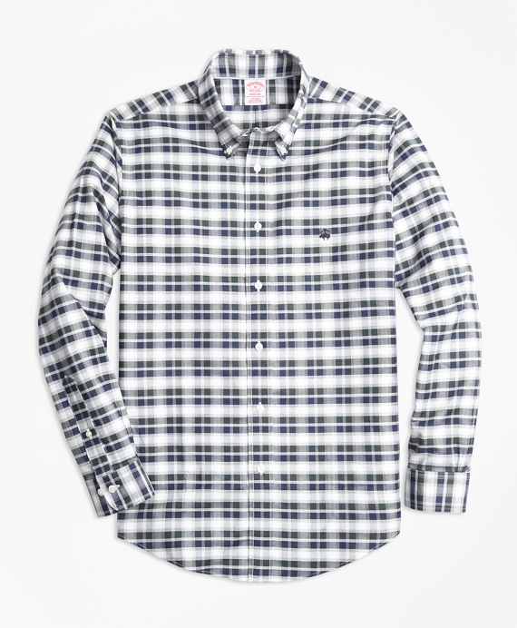 Non-Iron Madison Fit Grey Heather Plaid Sport Shirt Grey