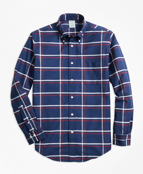 Milano Fit Oxford Check Sport Shirt Navy