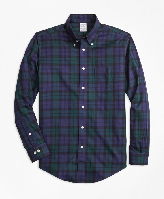 Non-Iron Regent Fit Black Watch Tartan Sport Shirt Navy-Green