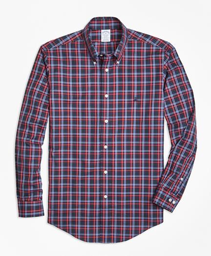 Non-Iron Regent Fit Macmillan Blue Tartan Sport Shirt