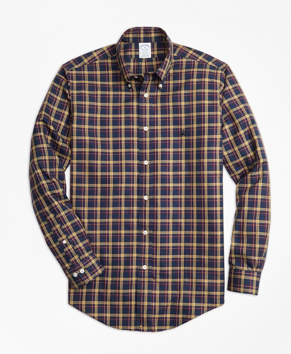 Non-Iron Regent Fit Macmillan Classic Tartan Sport Shirt Gold