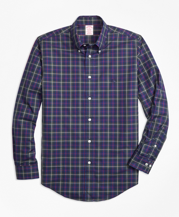 Non-Iron Madison Fit Malcolm Tartan Sport Shirt Green-Blue