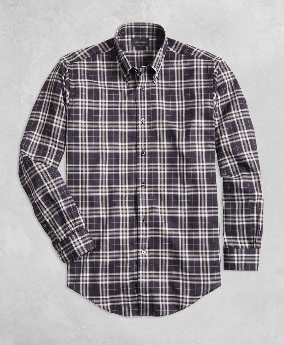 Golden Fleece® Regent Fit Black Plaid Flannel Sport Shirt Black