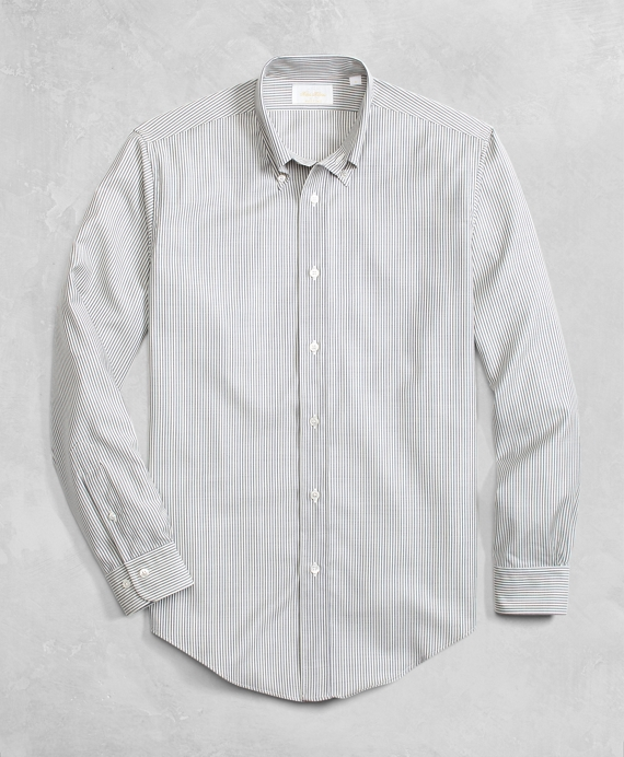 Golden Fleece® BrooksTech™ Lightweight Wool Stripe Sport Shirt Grey-White