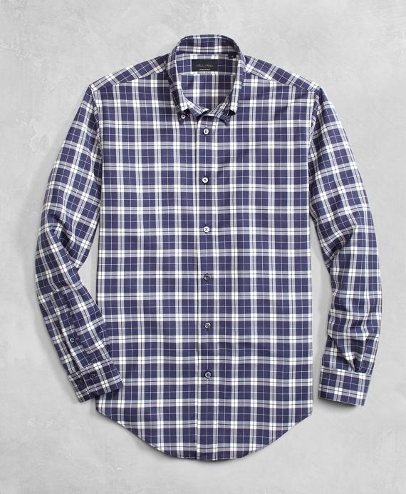 Golden Fleece® BrooksTech™ Lightweight Wool Large Plaid Sport Shirt Blue